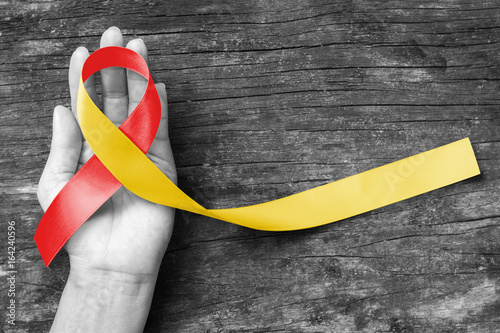 Obraz World hepatitis day and HIV/ HCV co-infection awareness with red yellow ribbon  (isolated  with clipping path) on person's hand support and old aged wood - fototapety do salonu