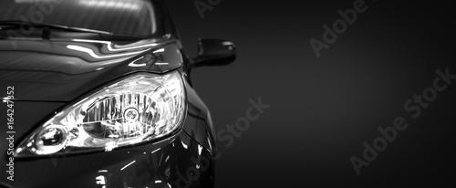 Obraz Black modern car on black background. - fototapety do salonu