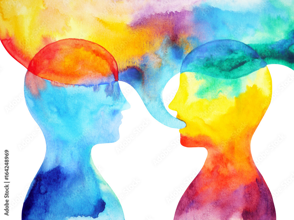 Fototapeta human speaking and listening power of mastermind together world universe inside your mind, watercolor painting hand drawn
