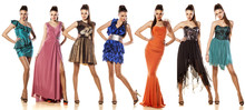 A Collage Of One Young Woman In Seven Different Dresses