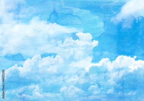 透明水彩風背景 青空