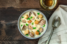Bowl Of Clam Chowder Soup, Ove...
