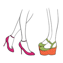 Hand Drawn Vector Illustration Of Female Legs In Cute Trendy Shoes - Magenta Ankle Straps With Kitten Heels And Mary Jane Platforms In Green And Orange With Yellow Polka Dots.