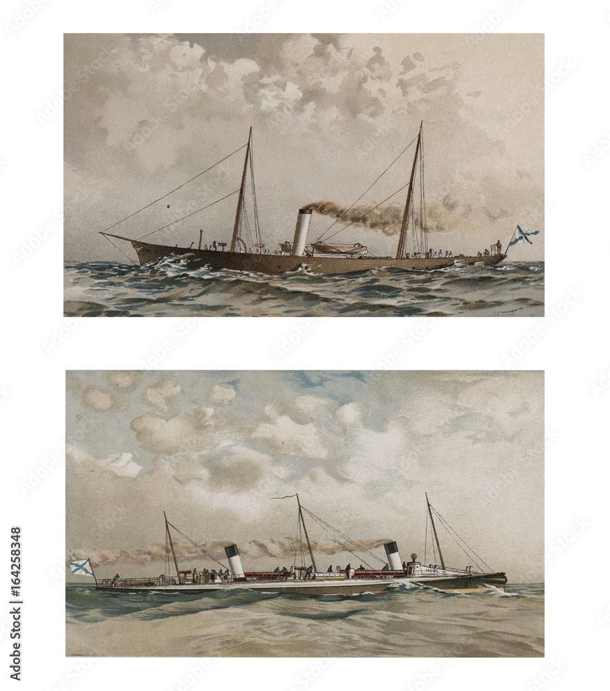 Photo  Illustration of ships 19-18 century.