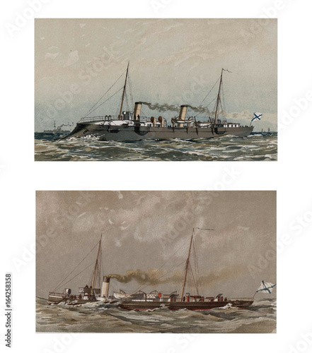 Illustration of ships 19-18 century. Canvas Print