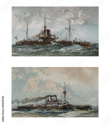 Illustration of ships 19-18 century. Canvas Print