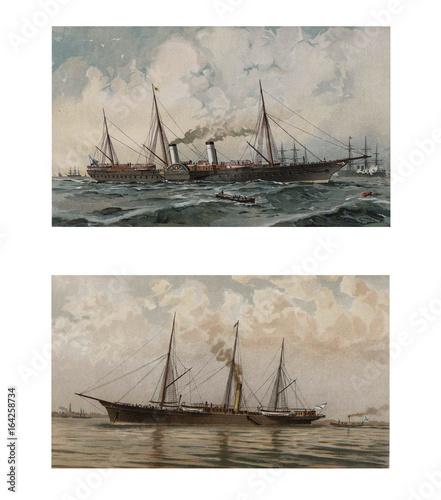 Illustration of ships 19-18 century. Wallpaper Mural
