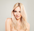 Leinwanddruck Bild - Beautiful Blonde Woman with Colored Hair. Blondie Fashion Model with Shiny Hairstyle and Natural Makeup