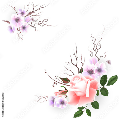 Photo Stands Floral woman Bouquet of pink roses, can be used as greeting card, invitation card for wedding, birthday and other holiday and spring, summer background. Vector illustration EPS10.
