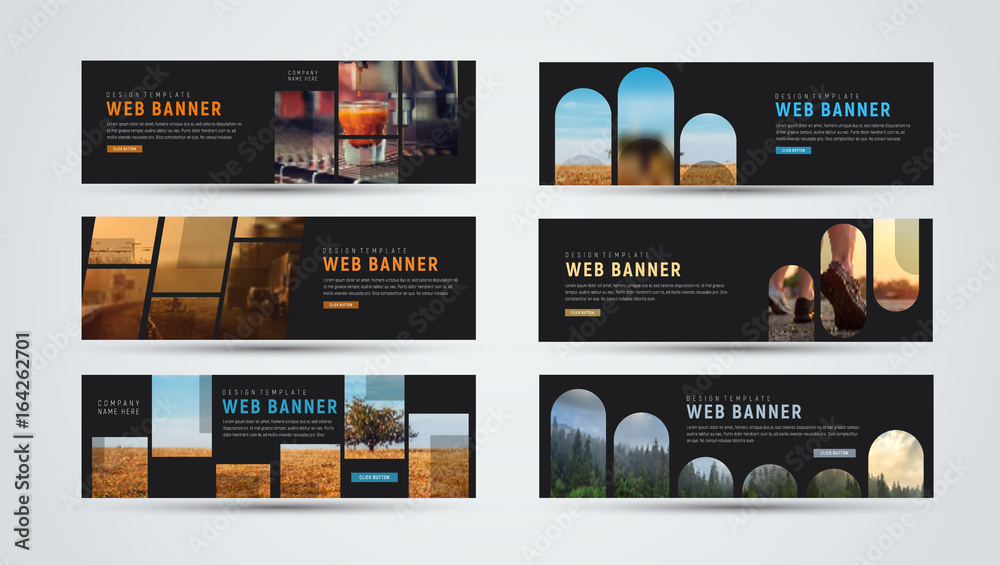 Fototapety, obrazy: set of black horizontal web banners of standard size with different geometric elements