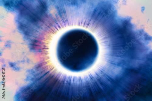 Pełne zaćmienie słońca, zjawisko astronomiczne - pełne zaćmienie słońca. Księżyc pokrywający Słońce w częściowym zaćmieniu. Ilustracja 3D.