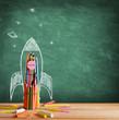 canvas print picture Back To School - Rocket Sketch On Blackboard