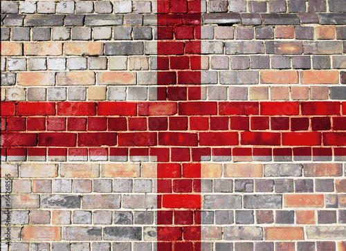 Vászonkép England flag on a brick wall background