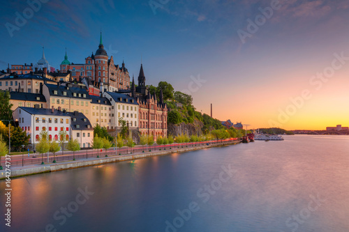 Foto op Canvas Scandinavië Stockholm. Image of old town Stockholm, Sweden during sunset.