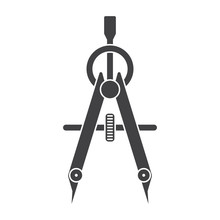 Compass Drawing Tool Black Vector Silhouette On White Background