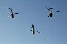 Three Serbian Air Force Helicopters Flying In Formation On Parade In Belgrade