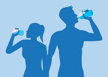 Silhouette Of Body Man And Woman Drinking Water. Illustration About Healthy Lifestyle.