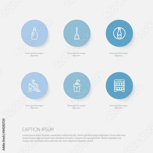 Fotografie, Obraz  Set Of 6 Editable Cleanup Icons