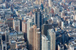 New York City Manhattan skyline aerial view with buildings and streets