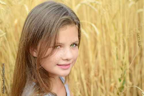 Close Up Little Girl With Long Hair Green Eyes In Golden Rye Field