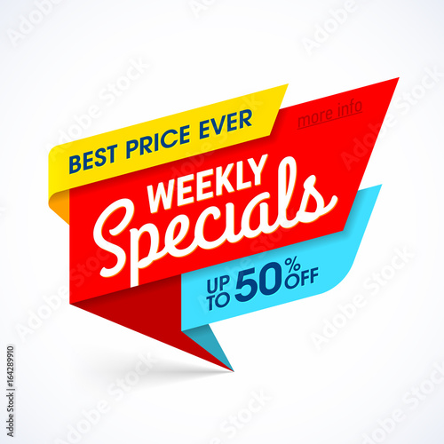 Valokuva Weekly Specials sale banner, special offer, best price ever