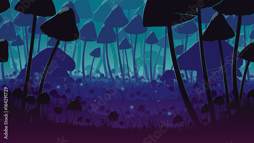 Aluminium Prints Green blue A high quality horizontal seamless background of landscape with deep mushroom forest.