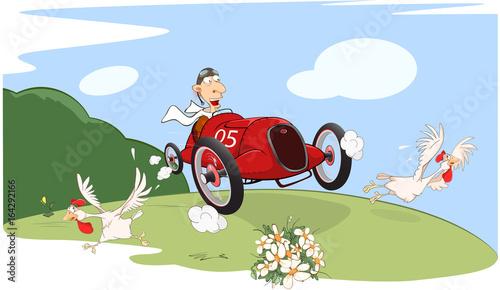 Papiers peints Chambre bébé Illustration of a Cute Driven Sports car racing
