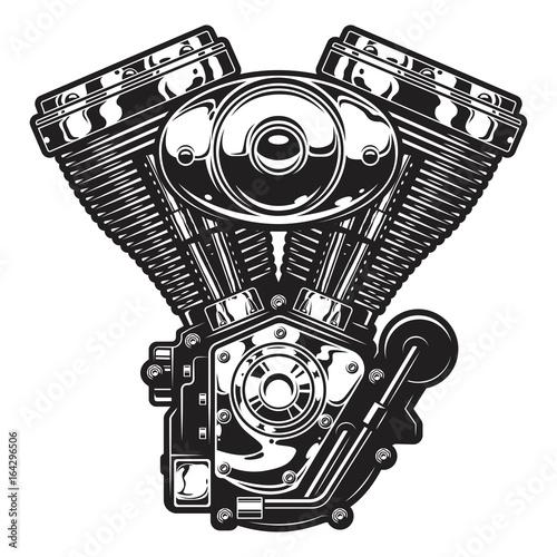 Fotografie, Obraz  Illustration of vintage custom motorcycle, chopper engine