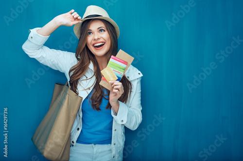 Travel concept portrait of happy woman tourist.