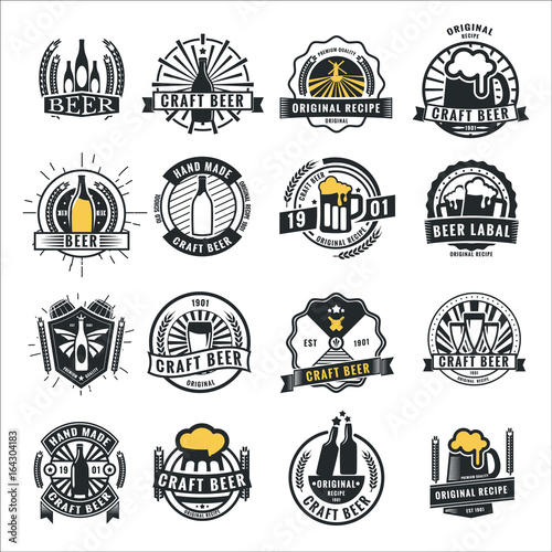 Set of vintage beer badge logo and labels template design Wallpaper Mural