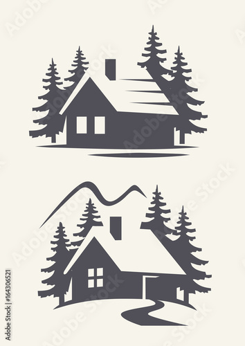 Canvas Print vector black cabin