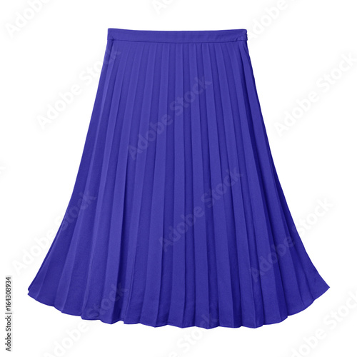 Valokuva  Navy blue pleated midi skirt isolated on white