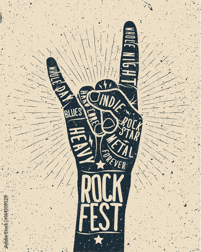 Rock Festival poster. Rock and roll hand sign. © paul_craft