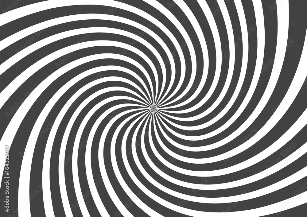 Fototapety, obrazy: Psychedelic spiral with radial gray rays. Swirl twisted retro background. Comic effect vector illustration
