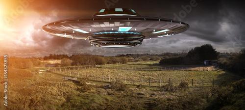 Türaufkleber UFO UFO invasion on planet earth landascape 3D rendering