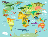 Fototapeta Dinusie - Dinosaurs map of the world