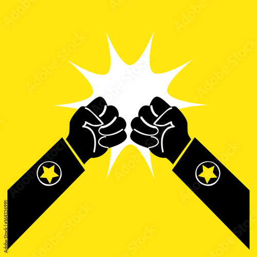 Two Fists Symbolize The Fight A Symbol Of Conflict Isolated Buy