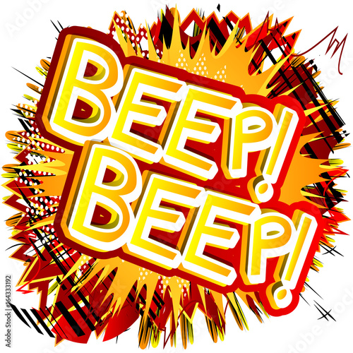 Beep! Beep! - Vector illustrated comic book style expression. Canvas Print