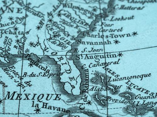 Obraz na płótnie 古地図 アメリカ・フロリダ半島