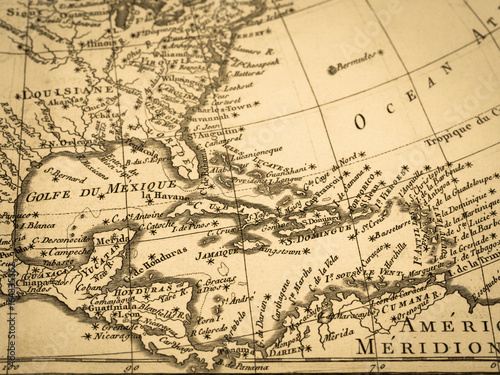 Fototapeta Stara mapa Ameryka Środkowa