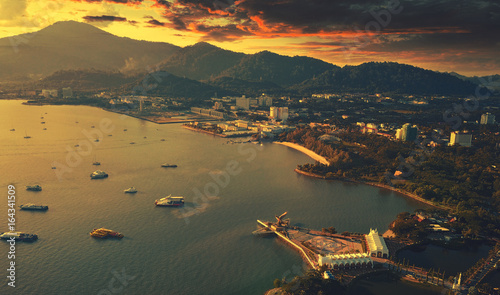 In de dag Eagle Langkawi eagle statue,Malaysia, view from the drone