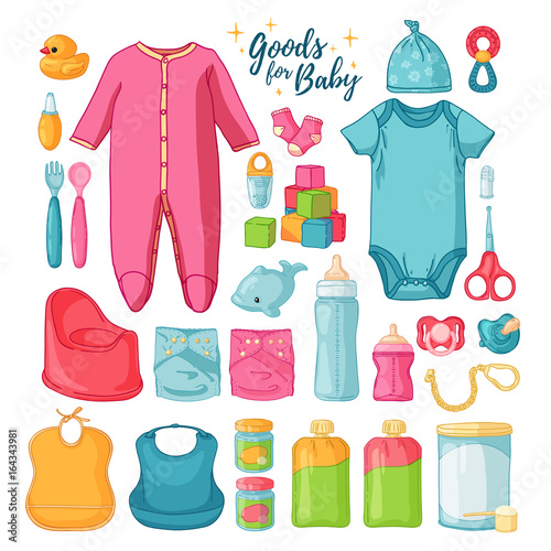 20aaef012207 Big set baby stuff. Cute set of things for childrenhood. Isolated ...