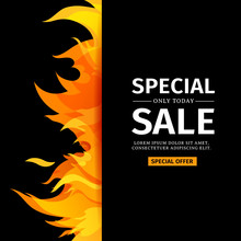 Template Design Vertical Banner With Special Sale. Card For Hot Offer With Frame Fire Graphic. Invitation Layout With Flame Border On Black Background. Vector.