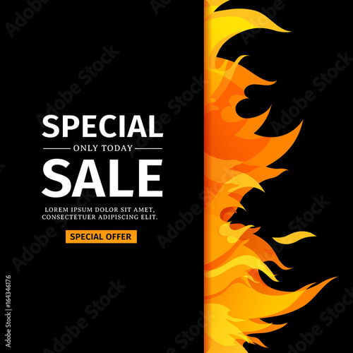 Template design vertical banner with special sale card for hot template design vertical banner with special sale card for hot offer with frame fire graphic stopboris Choice Image