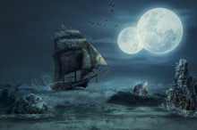 Sailing Ship In A Gale Under Two Moons