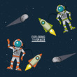 colorful poster exploring the space with spaceships astronauts and asteroids