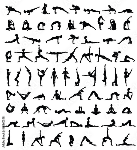 Women silhouettes. Collection of yoga poses. Asana set. Canvas Print