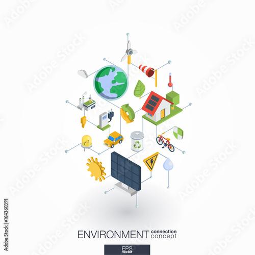 Environmental integrated 3d web icons  Digital network