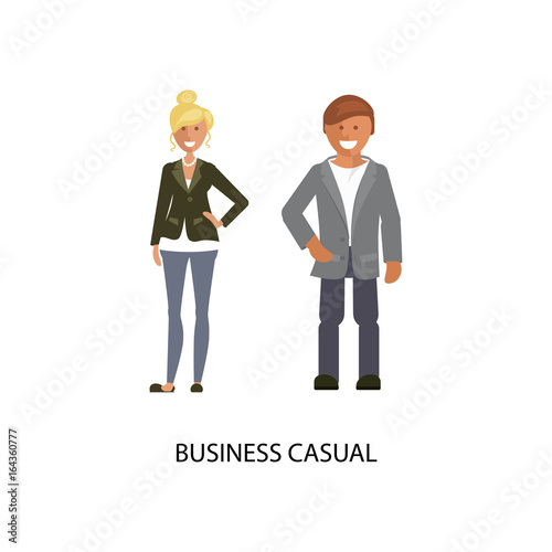 5bea1ba24c9a Man and woman in Business casual style suits isolated on white background. Dress  code Vector illustration of people in formal clothes.