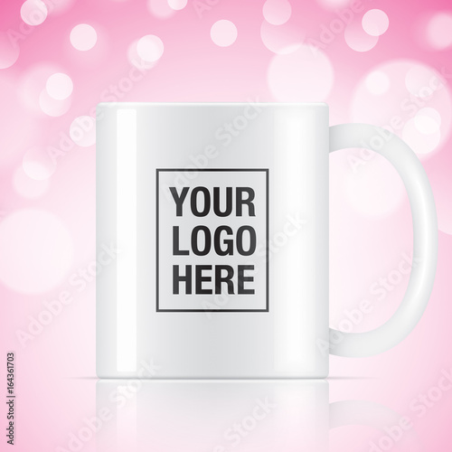 white vector coffee mug template isolated on a pink bokeh background vector mug mockup for your logo design buy this stock vector and explore similar vectors at adobe stock adobe stock adobe stock